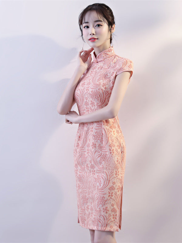 Pink Lace Stand-collar Split-side Short Cheongsam