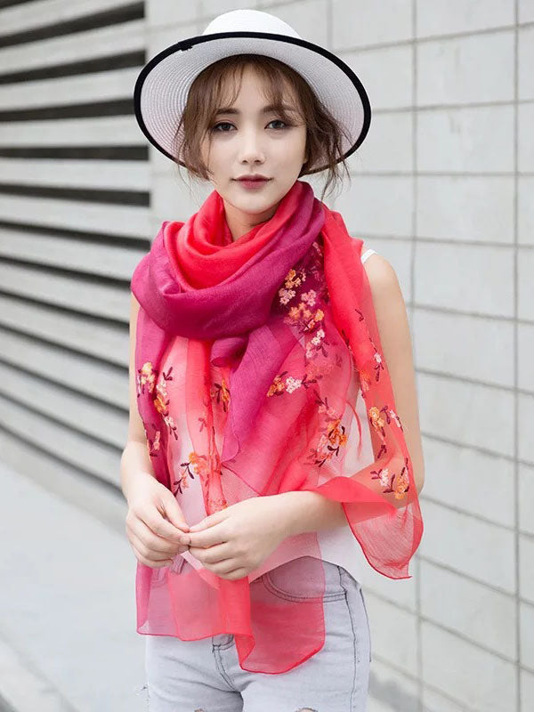Gradient Mulberry Silk Shawl Scarf