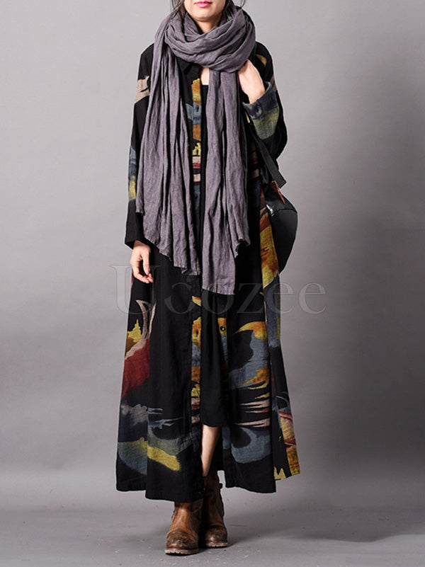 Retro Linen Printed Cardigan Outwears