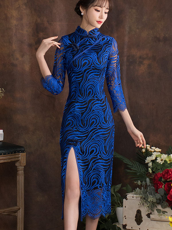 Royal-blue Whorl Cheongsam Midi Dress