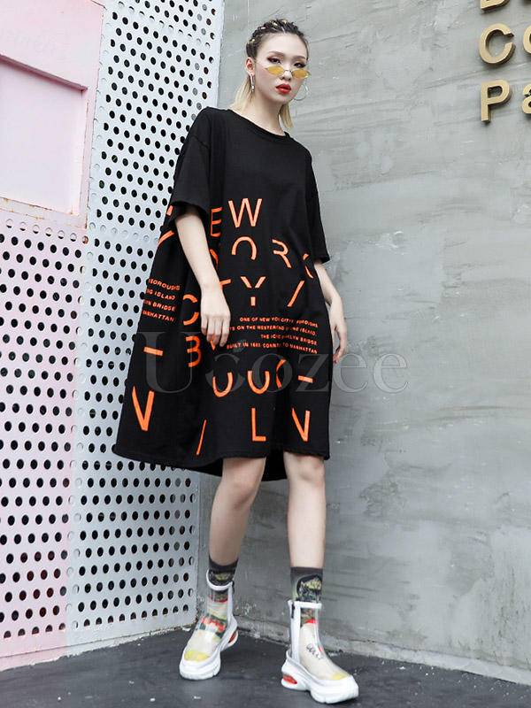 Irregular Letter Printed A-line T-shirt Dress