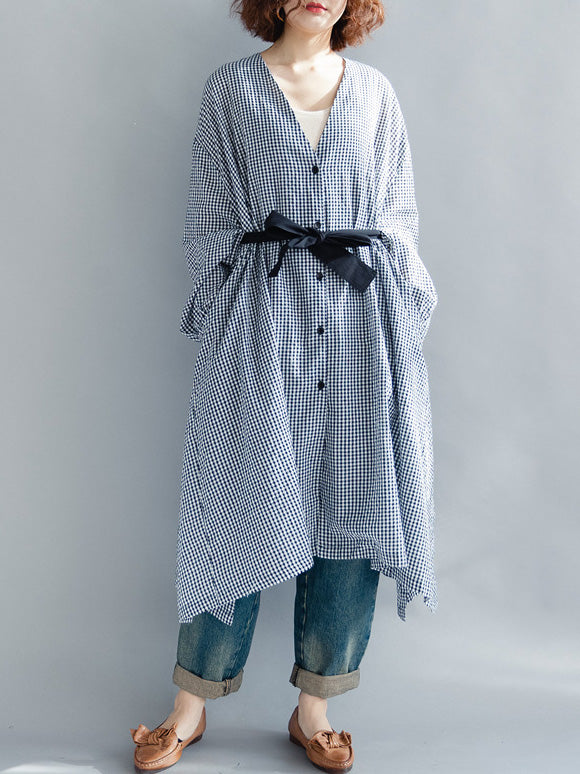 The New Loose Long Sleeve Plaid V-neck Botton Dress