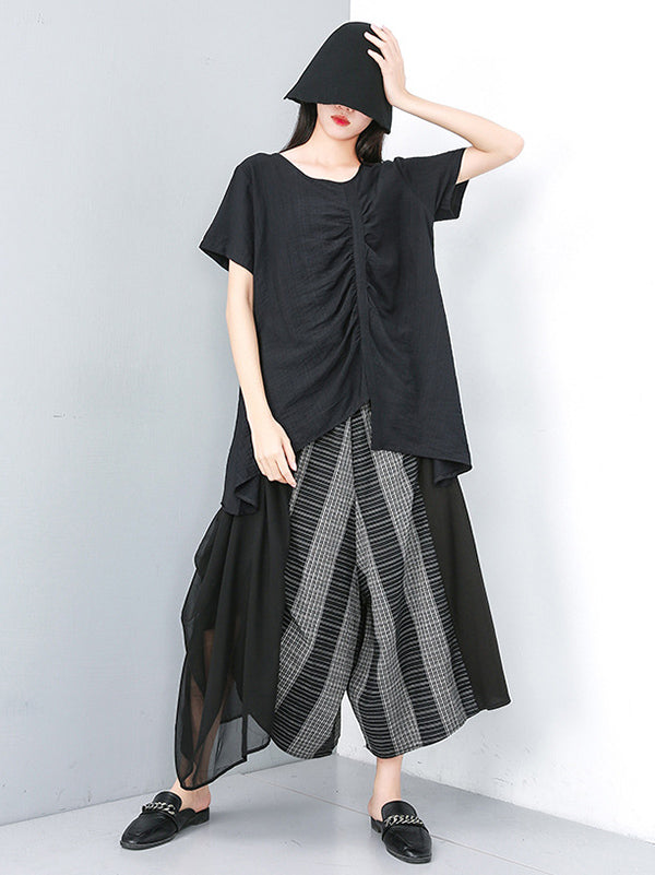 Loose Split-joint Chiffon Wide-leg Pants
