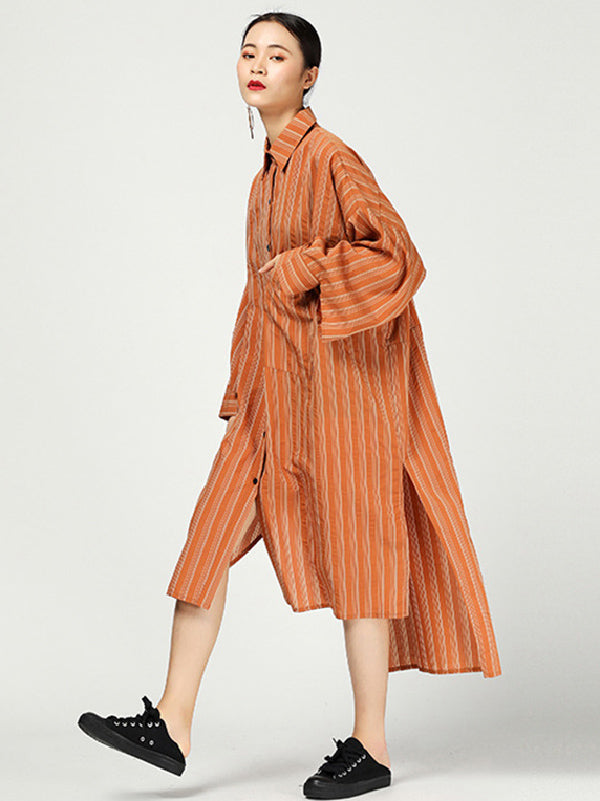 Casual Cutting Sleeve Stripped Shirt Dress