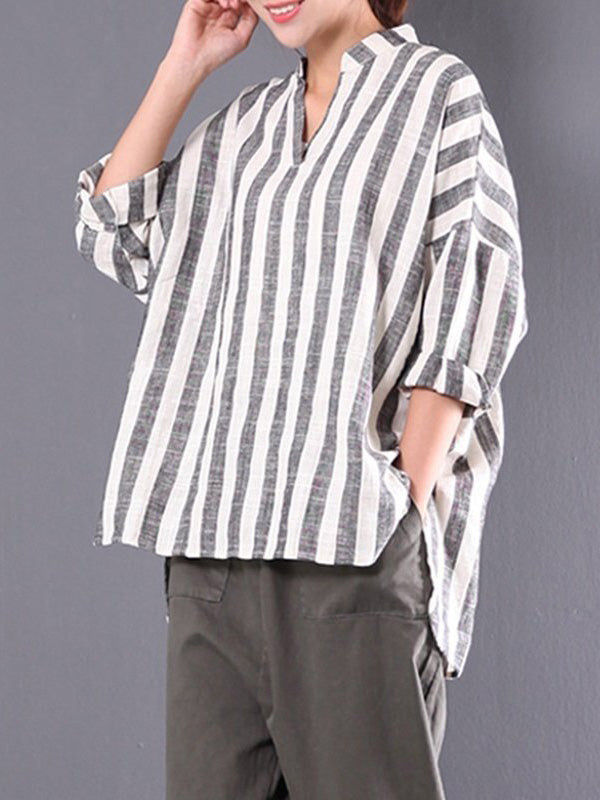 Loose  Comfortable Stripe V-neck Blouses