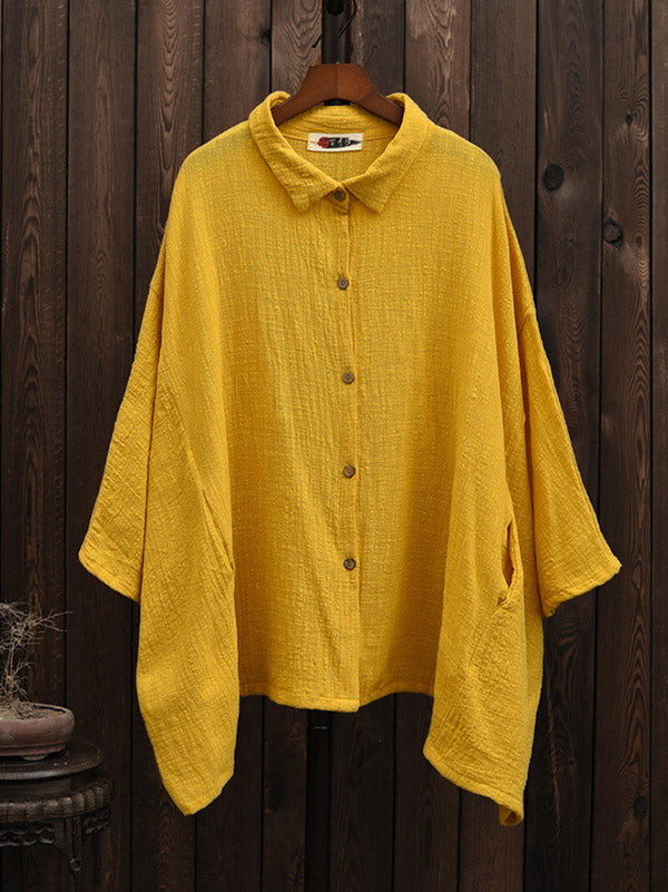 Loose Natinal Style Linen Pure Color T-Shirt