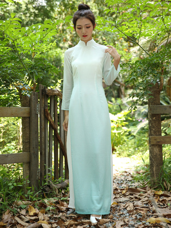 Gradient Green Split-side Long Ao Dai Cheongsam Dress