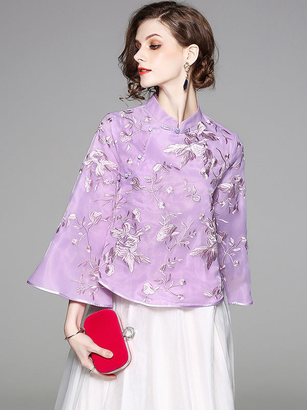 2 Colors Charming Organza Embroidered Cheongsam Tops