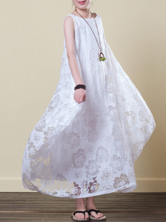 White lacy Cotton Irregular Long Dress