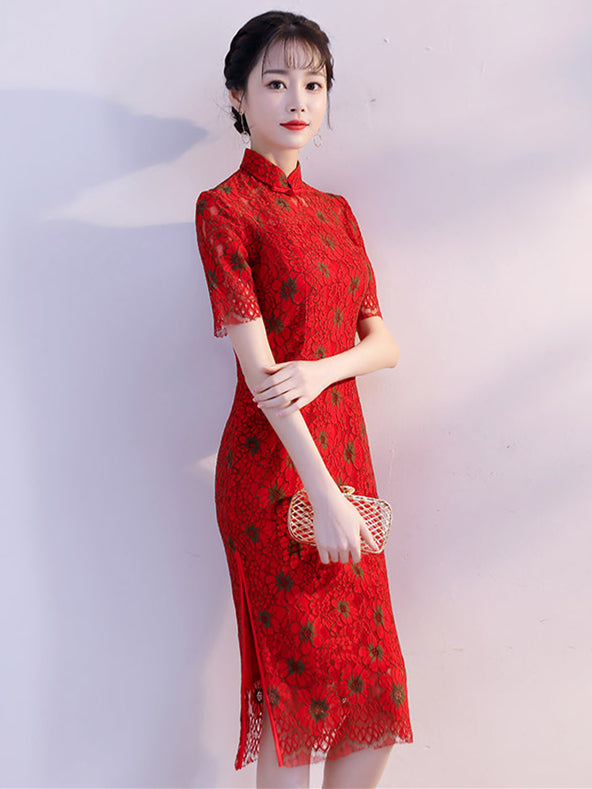 Red Lace Dacron Split-side Midi Cheongsam