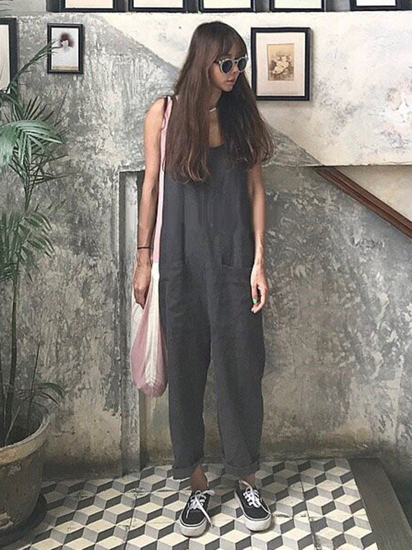 Pure Color Chic Pocket Jumpsuit