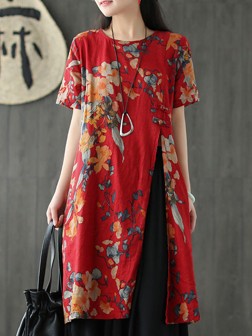 Flower Printed Split-side Long Blouse Dress