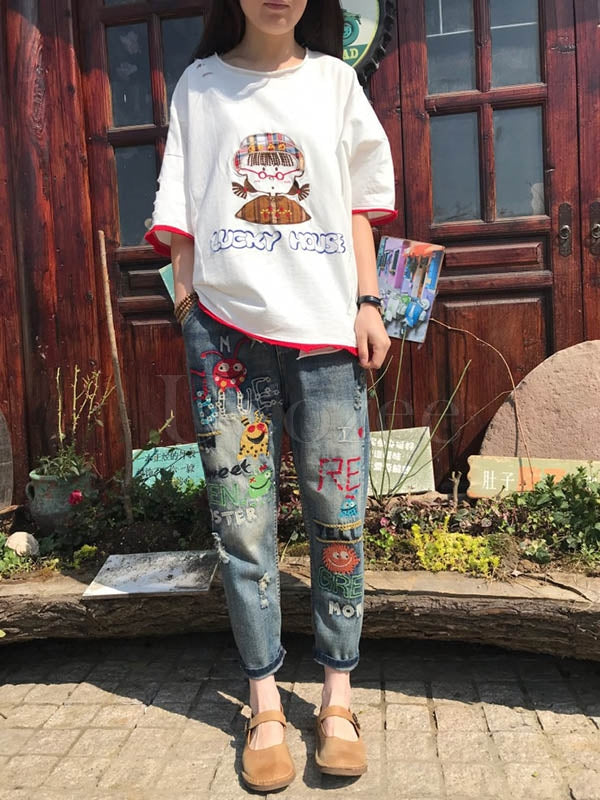Cartoon Embroidery Washed Hand-Cut Jeans Pants