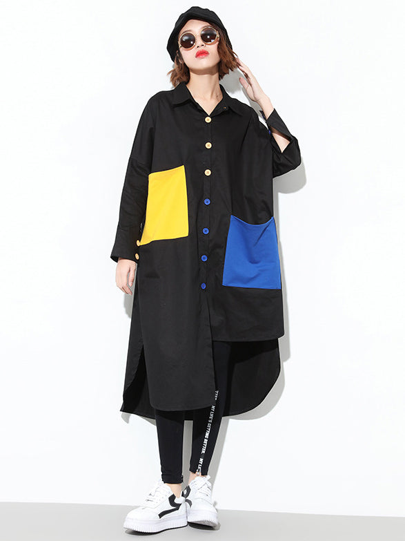 Irregular Colorful Split-joint Long Shirt