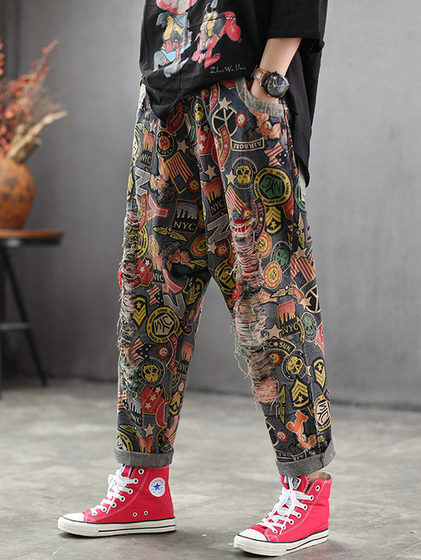 Printed Mess Style Hole-with Loose Pants