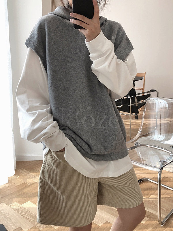 Casual Solid Hoodie Knitting Vest