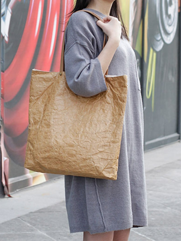 Vintage Ruffled Kraft Paper Canvas Shoulder Bag