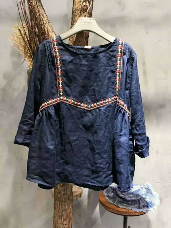 Loose Embroidered Cute Blouses