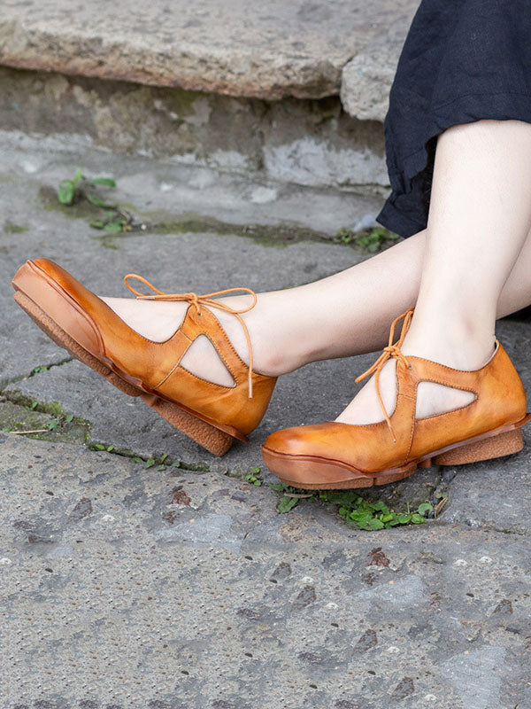 Genuine Leather Round Toe Sandals