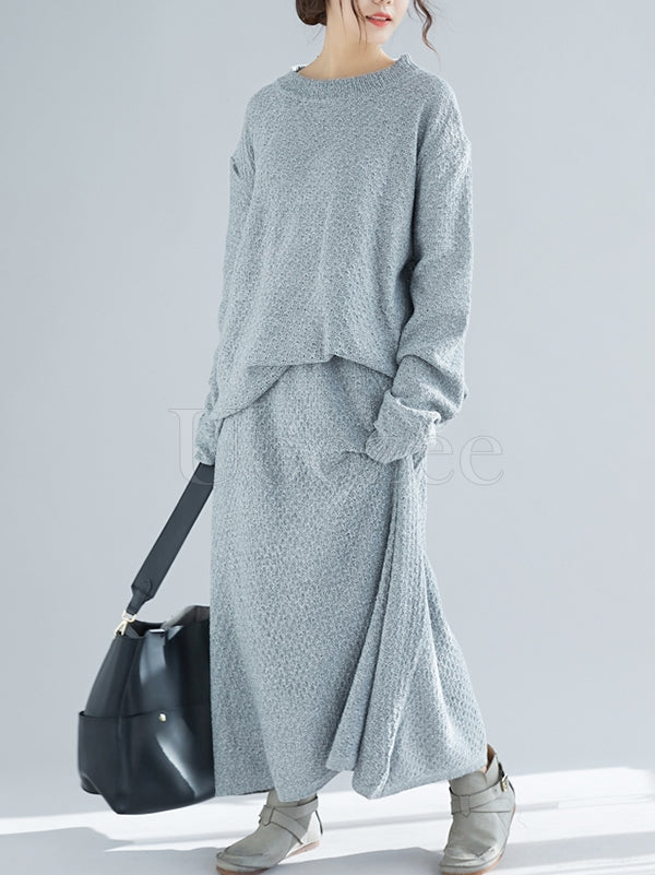 Loose Knitting Round-neck Sweater+Skirt Suits