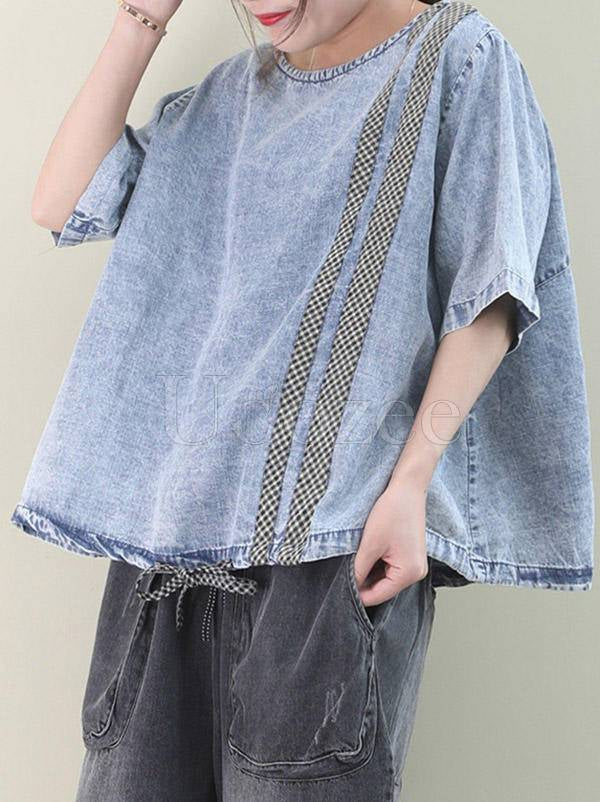 Loose Plaid Splicing Washable Jean T-Shirt
