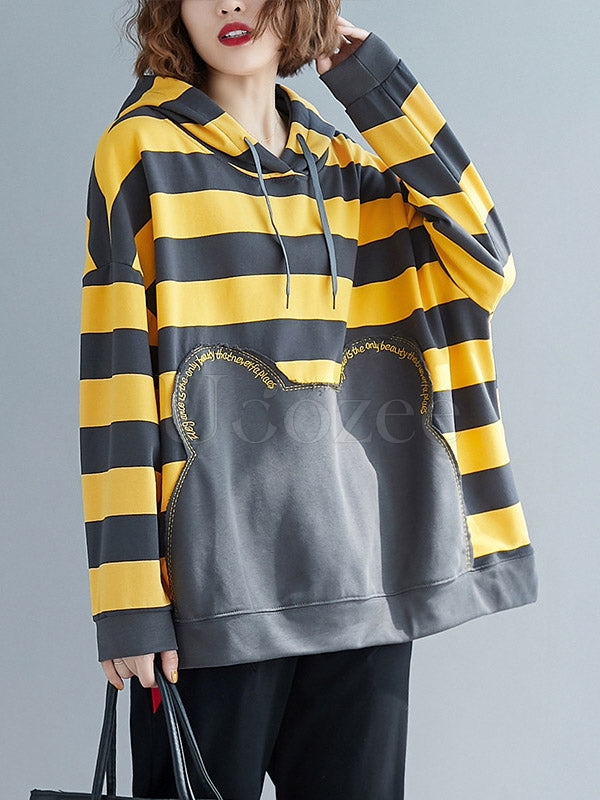 Casaul Striped Embroidered Split-joint Sweatshirt