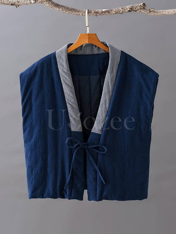 Vintage Splicing Color Quilted Short V-Neck Vest