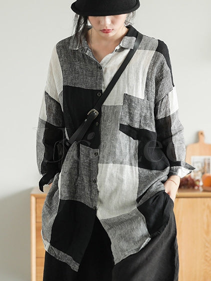 Retro Linen Plaid Long Shirt