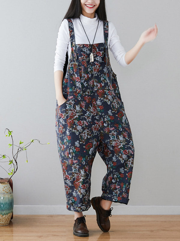 Vintage Loose Navy-blue Floral With-pockets Jumpsuits