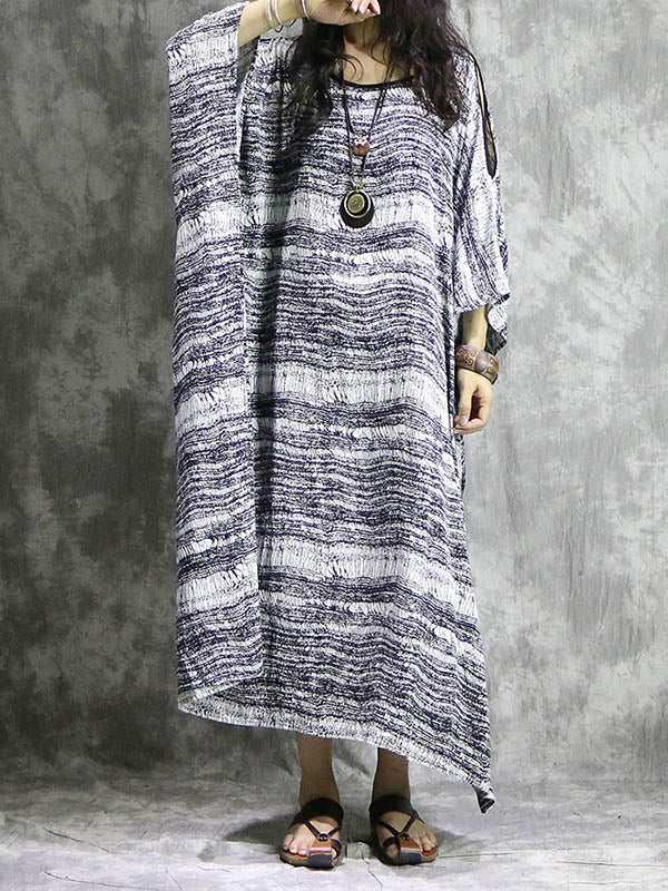 Loose Black&White Split-joint Striped Long Dress
