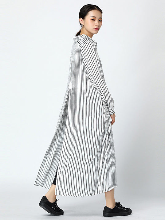 Loose Stripe Printed Comfortable Split-after Cover-up