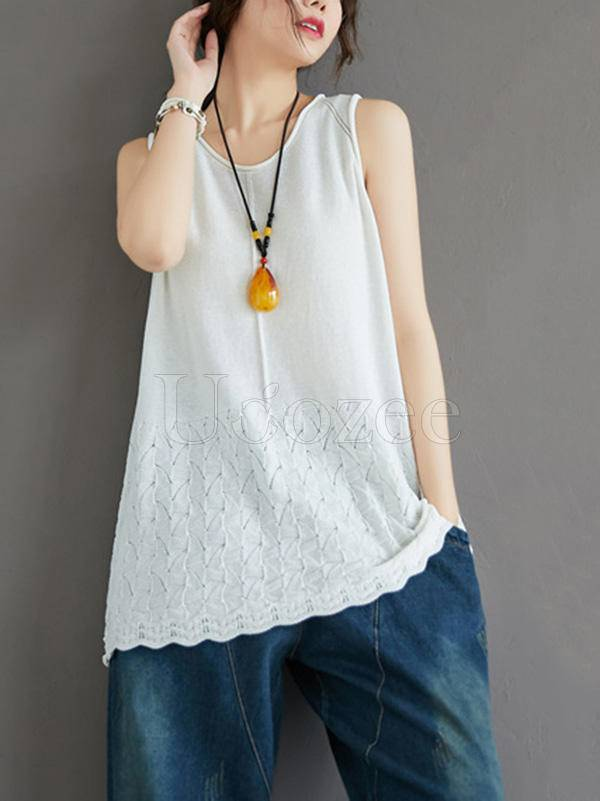 Casual Knitting Sleeveless A-Line Vest