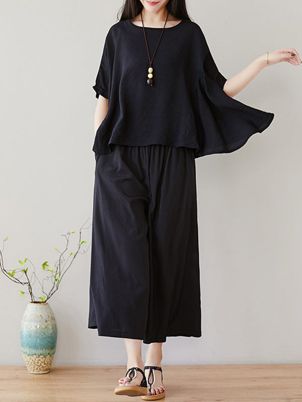 Loose Solid T-Shirt + Wide Leg Pants