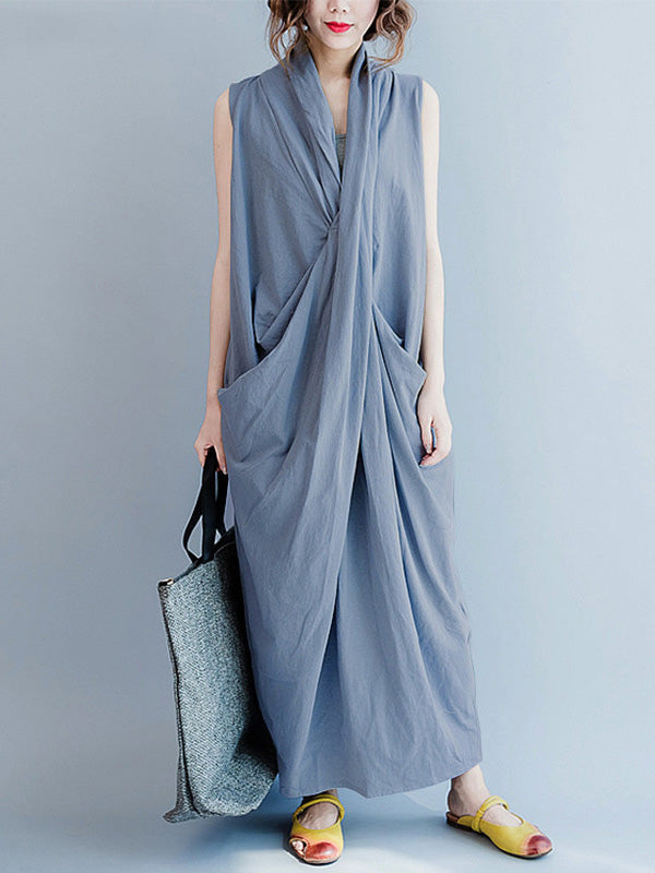 Loose Gray-blue Cropped Pockets Long Dress