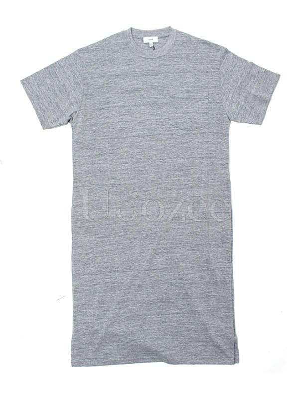 Simple White&Gray Split-Side Long T-Shirt