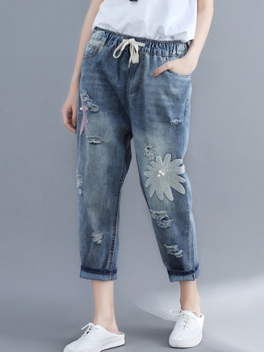Loose Embroidered Jean Pants