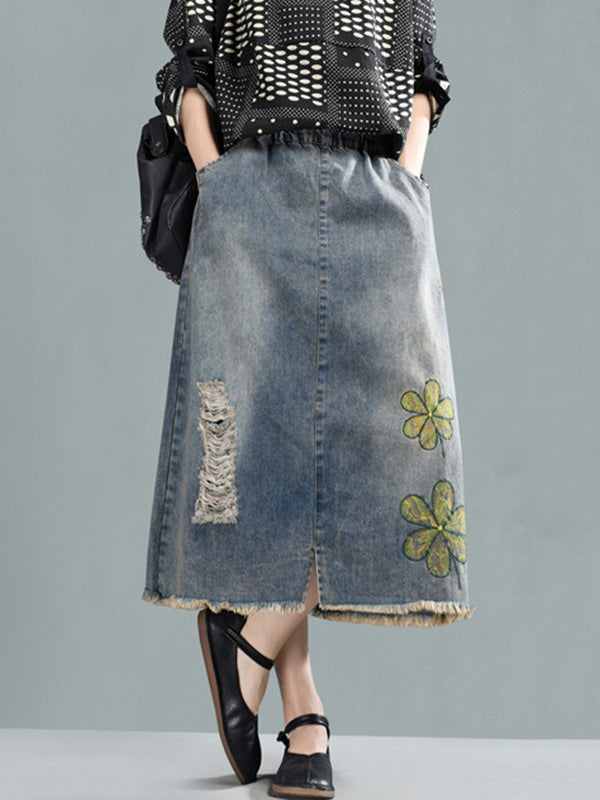 Printed Washing Style Denim Skirt