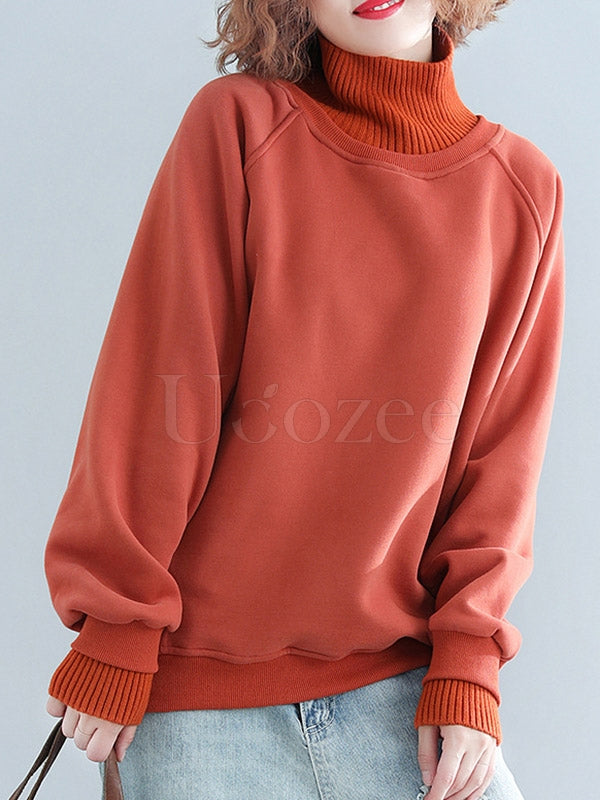 Plain Thickening Stitching High Neck Sweatshirt