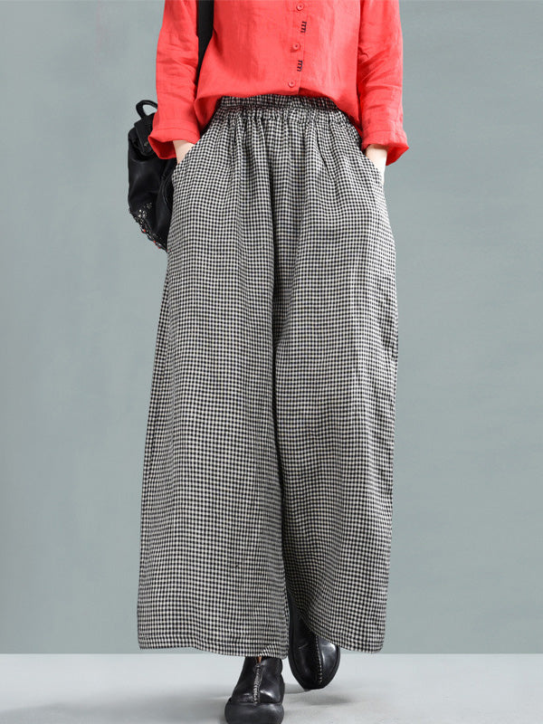 Leisure Ramie Cotton Plaid Wide-leg Pants