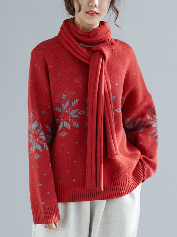 Red&Khaki Loose Knitting Floral Round-neck Sweater