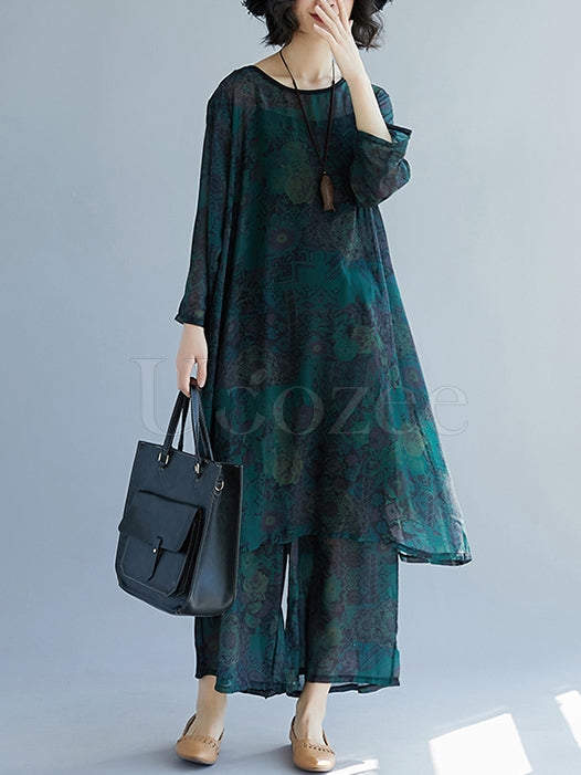 Chiffon Plus Size Loose Printed Leisure Suits