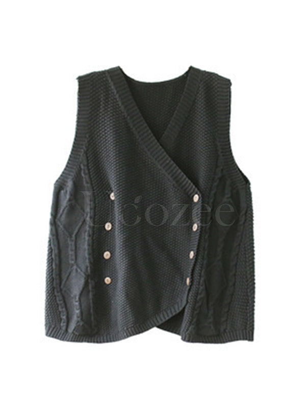 Retro Asymmetric Double-breasted Knitting Vest