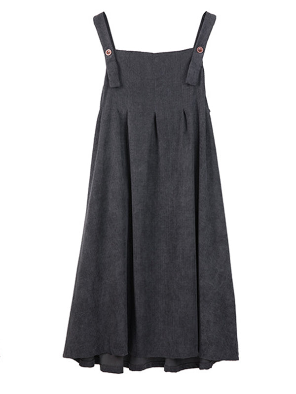 Vintage V-neck Loose Maxi Dresses