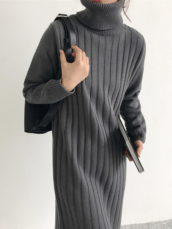 High Neck Knitting Long Sweater Dress