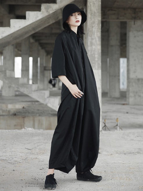 Loose Simple Black Harem Pants