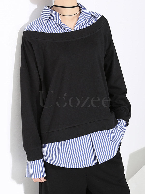Casual False Two Striped Lapel Shirt