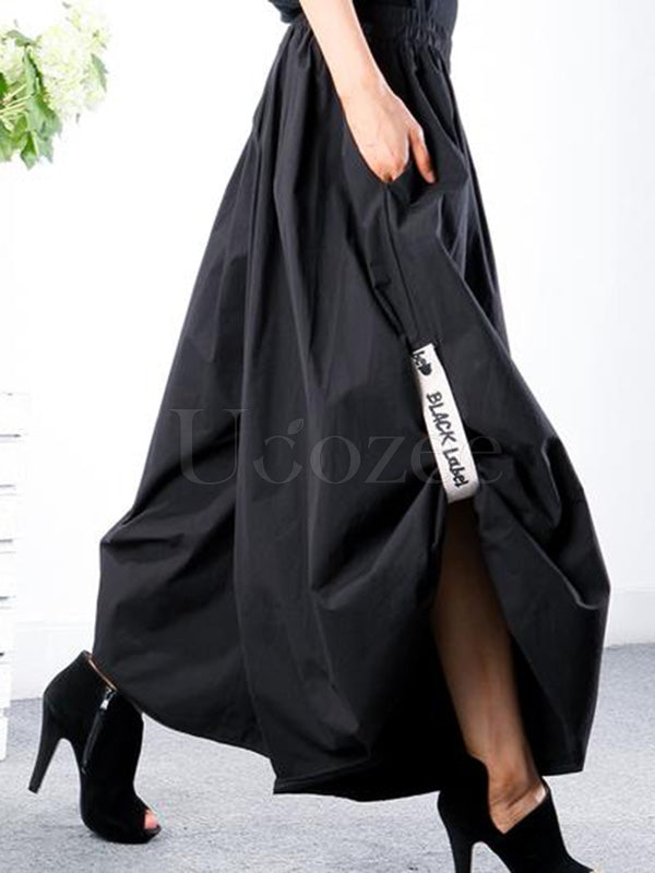 Black Loose Ruffled Wide Leg Pants