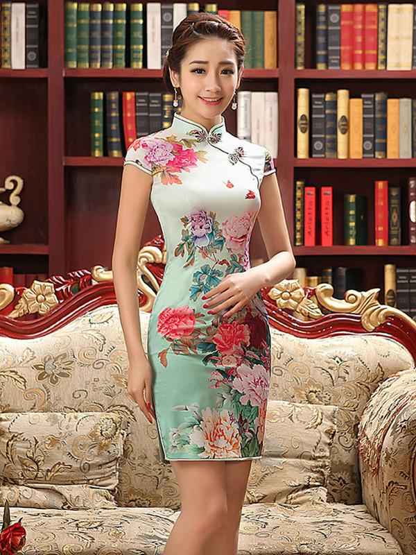 Floral Split-side Short Cheongsam Dress