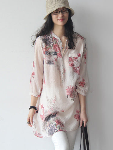 Soft Flower embroidered Cotton Blouse