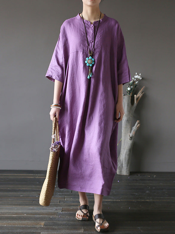 Loose Pure Color Cotton Long Robe